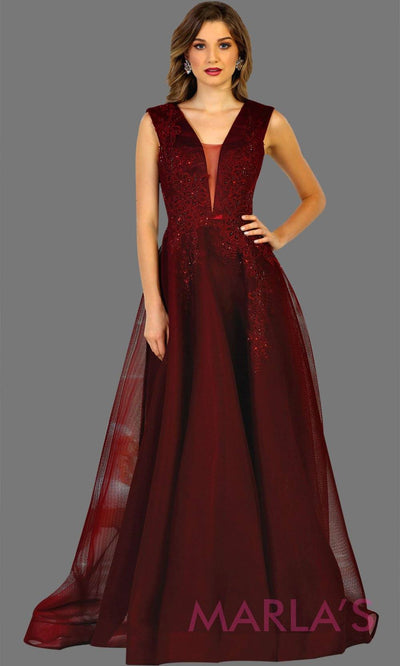 Long burgundy v neck ball gown dress with plunging neckline. Dark red dress is perfect for formal wedding, gala, wedding guest dress, quinceanera, sweet 16, wedding reception dress, engagement dress.Plus size avail
