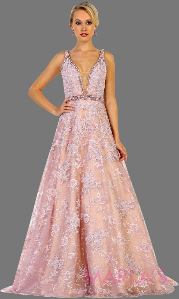 Long Dusty Rose Lace V Neck Ballgown Dress