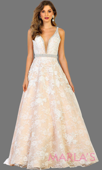 Long ivory champagne ball gown lace ball gown with v neckline and low back. This ivory gown can be worn for wedding reception, engagement gown, eshoot, sweet 16, quinceanera. Plus size available.