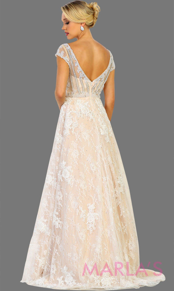 Back of Long ivory champagne lace ball gown with high neck and low v back. Perfect as wedding reception, engagement dress, simple wedding ball gown, gala event. Plus size Available.