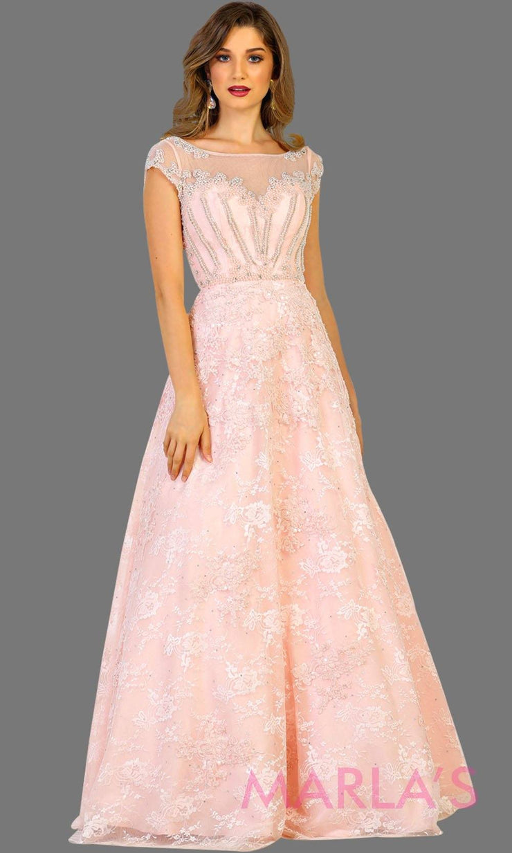 Long blush pink lace ball gown with high neck and low v back. Perfect as wedding reception, engagement dress, simple wedding ball gown, gala event. Plus size Available.