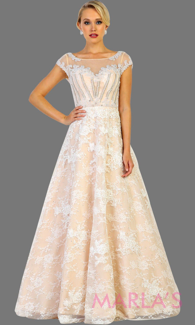 Long ivory champagne lace ball gown with high neck and low v back. Perfect as wedding reception, engagement dress, simple wedding ball gown, gala event. Plus size Available.