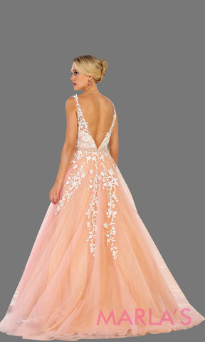 Back of Long blush pink ball gown with lace and low back. Ballgown perfect for quinceanera, Sweet 16, sweet 15, debut, engagement dress, wedding reception dress. Available in plus sizes.