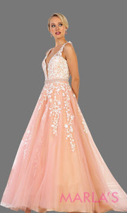 Long blush pink ball gown with lace and low back. Ballgown perfect for quinceanera, Sweet 16, sweet 15, debut, engagement dress, wedding reception dress. Available in plus sizes.