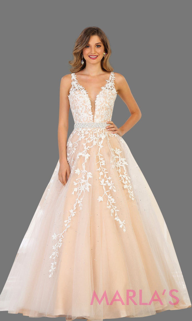 Long Ivory Ball Gown With Lace And Low Back - MarlasFashions ...