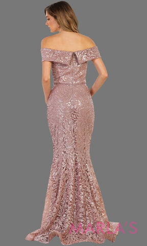 Back of Long off shoulder dusty rose lace sequin beaded dress. Perfect for prom, formal party gown, mocha wedding guest dress, gala, charity event. Available in plus sizes.