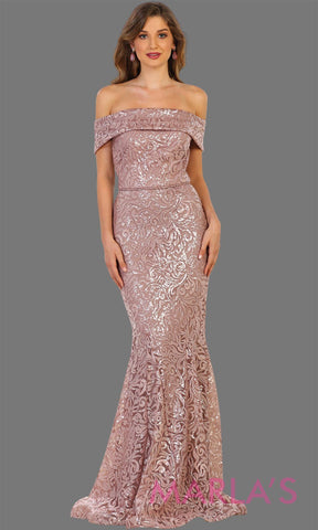 Long off shoulder dusty rose sequin beaded lace dress. Perfect for prom, formal party gown, mocha wedding guest dress, gala, charity event. Available in plus sizes.