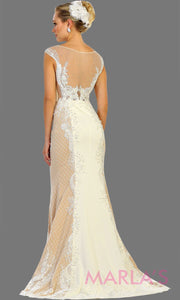 Back of long high neck mermaid ivory champagne gown. This long ivory dress is perfect for gala, wedding reception, second wedding, court wedding, civil wedding, formal party, western party dress, evening gown. Plus size available.