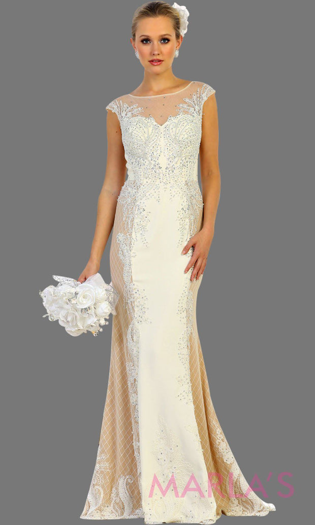 Long high neck mermaid ivory champagne gown. This long ivory dress is perfect for gala, wedding reception, second wedding, court wedding, civil wedding, formal party, western party dress, evening gown. Plus size available.