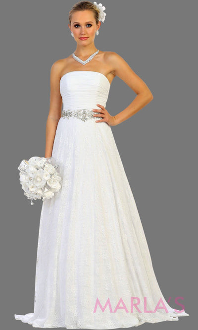 Long white strapless dress with rhinestone belt. Perfect for civil wedding, second wedding, destination wedding, flowy bridal dress. Plus size available.