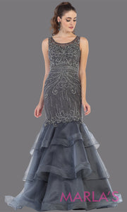 Long high neck beaded mermaid charcoal gray mermaid dress from mayqueen. This sequin beaded dark gray formal evening dress is perfect for mother of the bride, formal wedding guest dress, plus size formal party dress, fancy party evening dress