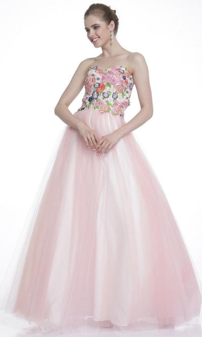 Cinderella Divine - 7637 Floral Lace Tulle Ballgown In Pink