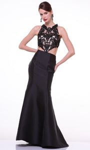 Cinderella Divine - 7640 Illusion Lace Top Trumpet Gown In Black
