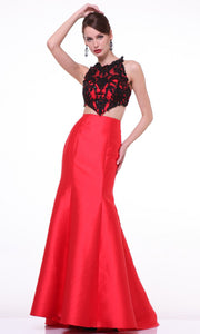 Cinderella Divine - 7640 Illusion Lace Top Trumpet Gown In Red