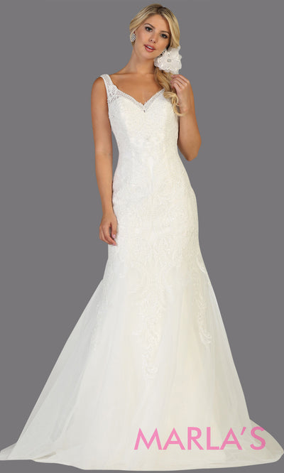 Long v neck mermaid white bridal gown with straps & low open back from mayqueen. Perfect for budget friendly wedding bridal gown, plus size bridal dress, cheap white dress,second wedding white gown, white prom dress, indowestern party gown