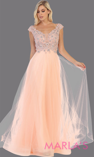 Long v neck flowy blush pink semi ballgown with lace top & wide straps from mayqueen. This floor length light pink dress is perfect for prom, formal wedding guest dress, indowestern party gown, engagement dress, eshoot, plus size party dress