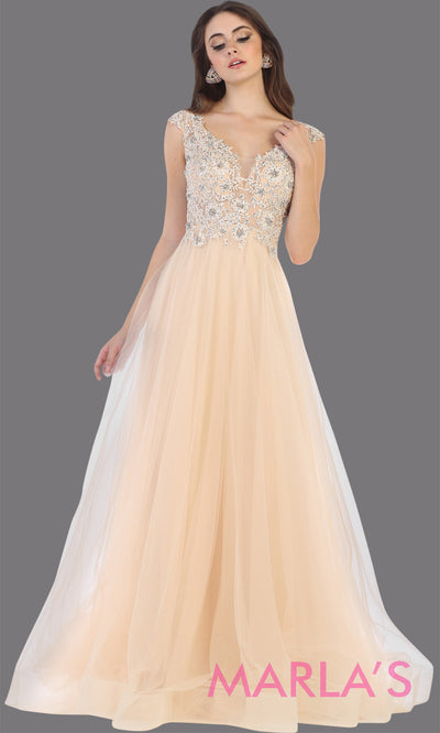 Long v neck flowy champagne semi ballgown with lace top & wide straps from mayqueen. This floor length light gold dress is perfect for prom, formal wedding guest dress, indowestern party gown, engagement dress, eshoot, plus size party dress