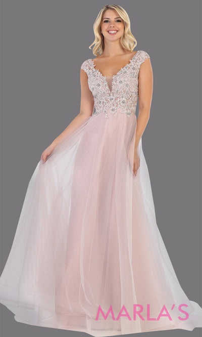 Long v neck flowy mauve pink semi ballgown with lace top & wide straps from mayqueen. This floor length light pink dress is perfect for prom, formal wedding guest dress, indowestern party gown, engagement dress, eshoot, plus size party dress