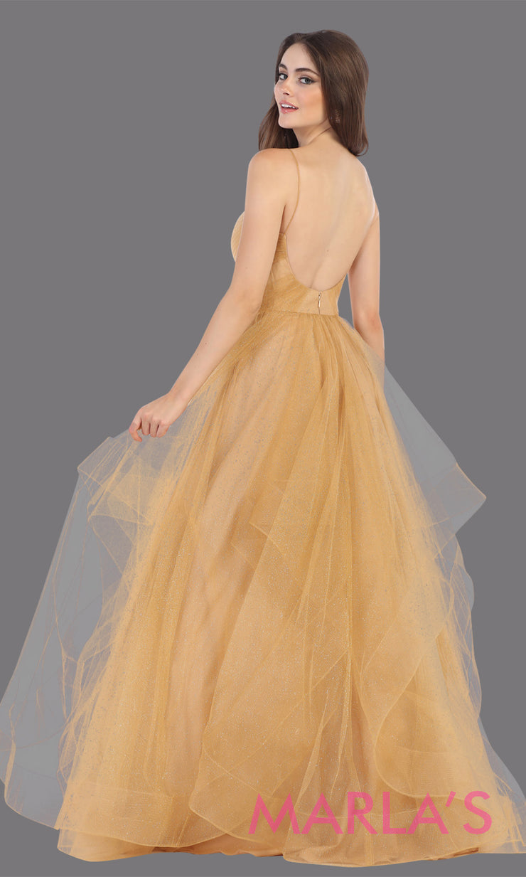 Back of Long glittery v neck champagne gold semi ballgown & ruffle skirt. This gold flowy gown from mayqueen is perfect for prom, black tie event, engagement dress, formal party dress, plus size wedding guest dresses, pink indowestern party dress