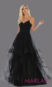Long glittery v neck black semi ballgown & ruffle skirt. This open back black flowy gown from mayqueen is perfect for prom, black tie event, engagement dress, formal party dress, plus size wedding guest dresses, pink indowestern party dress