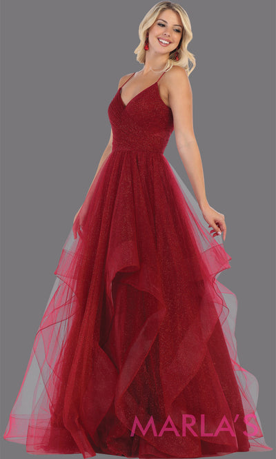 Long glittery v neck burgundy red semi ballgown & ruffle skirt. This dark red flowy gown from mayqueen is perfect for prom, black tie event, engagement dress, formal party dress, plus size wedding guest dresses, pink indowestern party dress