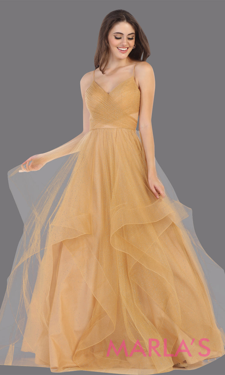 Long glittery v neck champagne gold semi ballgown & ruffle skirt. This gold flowy gown from mayqueen is perfect for prom, black tie event, engagement dress, formal party dress, plus size wedding guest dresses, pink indowestern party dress