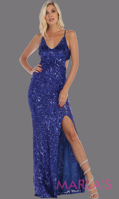 Long sleek & sexy royal blue evening dress with high slit & open back dress from mayqueen. This blue tight fitted evening gown with high slit is perfect for prom, wedding guest dress, guest for prom, formal party, gala, black tie party