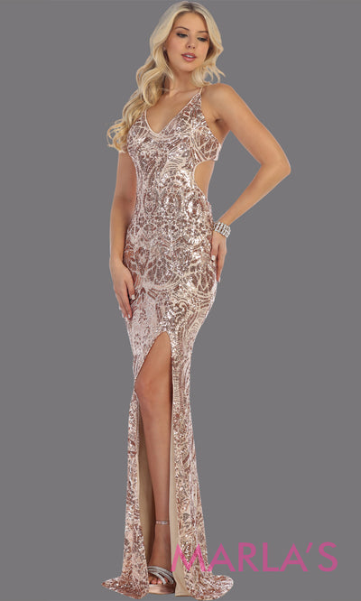 Long sleek & sexy taupe evening dress with high slit & open back dress from mayqueen. This mocha tight fitted evening gown with high slit is perfect for prom, wedding guest dress, guest for prom, formal party, gala, black tie party