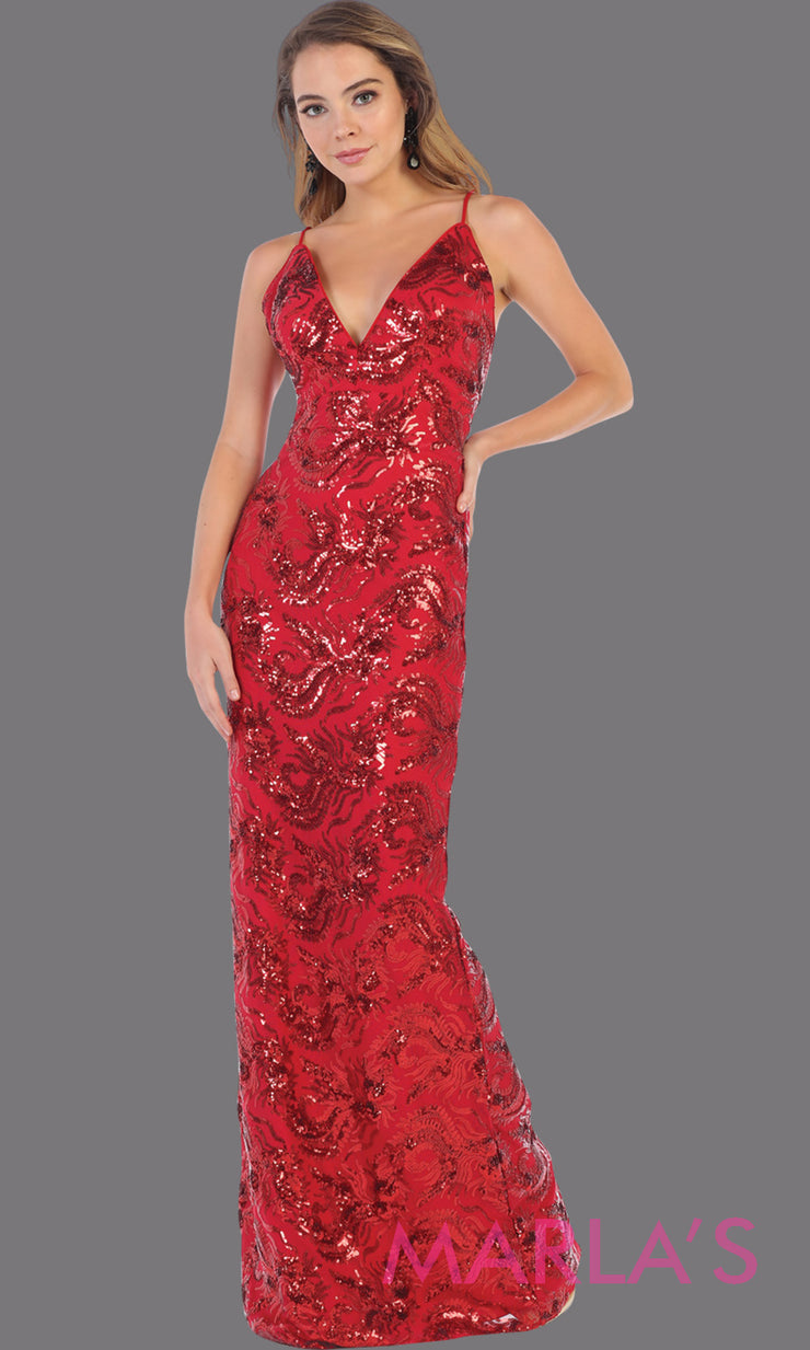 Long sleek & sexy red sequin evening dress with v neck & open back dress from mayqueen. This red tight fitted evening gown with low back is perfect for prom, wedding guest dress, guest for prom, formal party, gala, black tie party