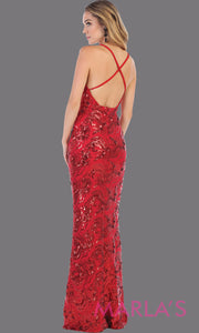 Back of Long sleek & sexy red sequin evening dress with v neck & open back dress from mayqueen. This red tight fitted evening gown with low back is perfect for prom, wedding guest dress, guest for prom, formal party, gala, black tie party
