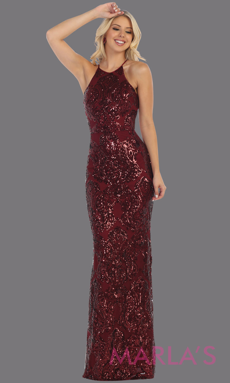 Long sequin burgundy red dress from MayQueen RQ7666. This open back dark red dress is perfect for prom, evening party dress, formal wedding guest dress, sleek & sexy formal gown, gala, engagement party, wedding reception dress
