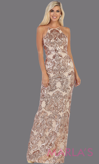 Long sequin rose gold dress from MayQueen RQ7666. This open back light gold dress is perfect for prom, evening party dress, formal wedding guest dress, sleek & sexy formal gown, gala, engagement party, wedding reception dress
