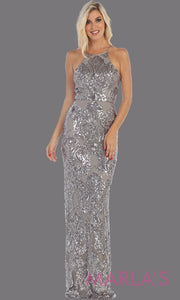 Long sequin silver grey dress from MayQueen RQ7666. This open back silver gray dress is perfect for prom, evening party dress, formal wedding guest dress, sleek & sexy formal gown, gala, engagement party, wedding reception dress