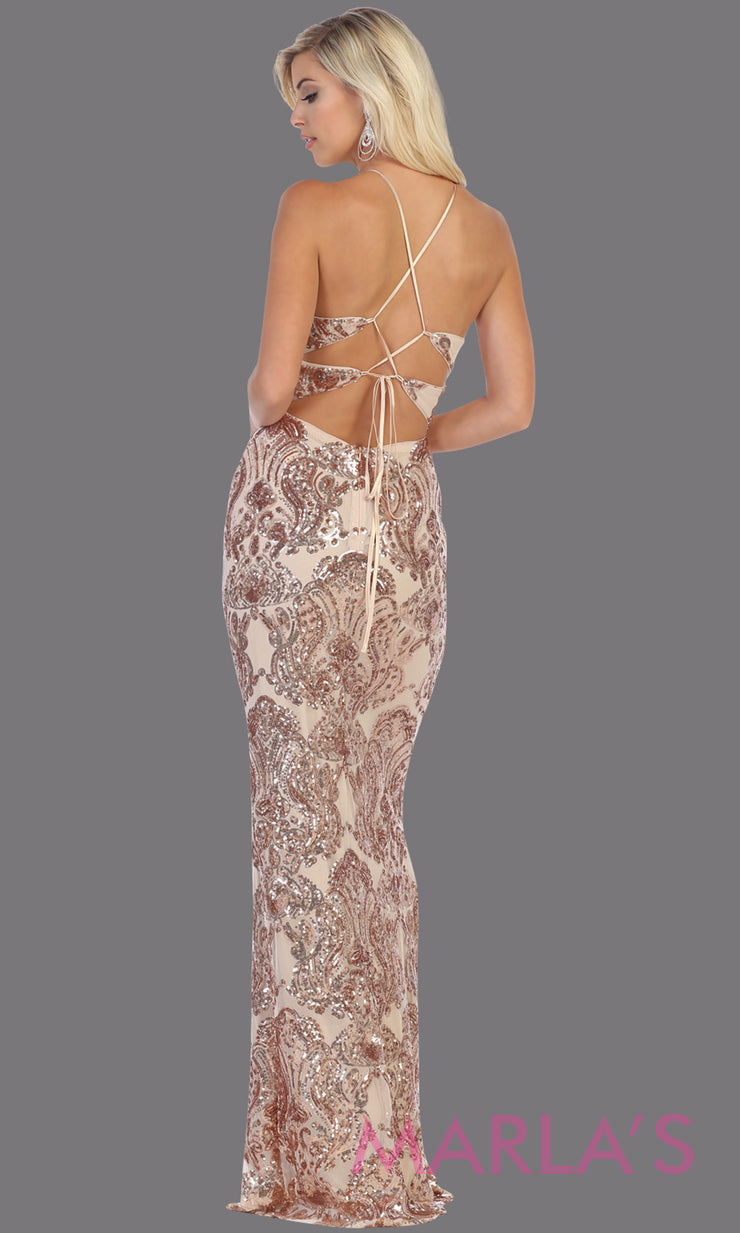 Back of Long sequin rose gold dress from MayQueen RQ7666. This open back light gold dress is perfect for prom, evening party dress, formal wedding guest dress, sleek & sexy formal gown, gala, engagement party, wedding reception dress