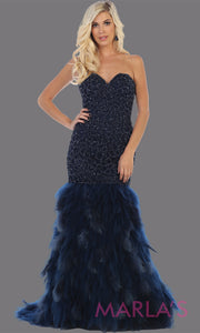 Long strapless navy blue mermaid evening gown with feathers from MayQueen RQ7668. This dark blue gown is perfect for prom, wedding reception, engagement dress, e-shoot, prom, formal wedding guest dress, indowestern party dress, plus size