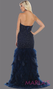Back of Long strapless navy blue mermaid evening gown with feathers from MayQueen RQ7668. This dark blue gown is perfect for prom, wedding reception, engagement dress, e-shoot, prom, formal wedding guest dress, indowestern party dress, plus size