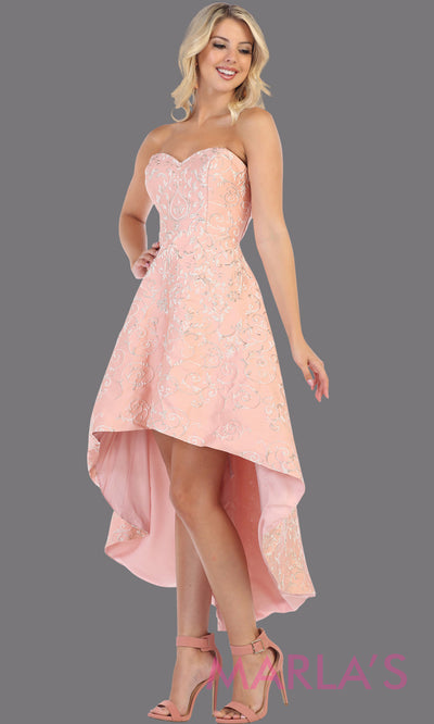 High low strapless blush pink semi formal party dress. This hi lo dress is perfect as a wedding guest dress, prom guest, grade 8 graduation, graduation, wedding guest dress, engagement shoot, plus size dresses, indowestern party dress.