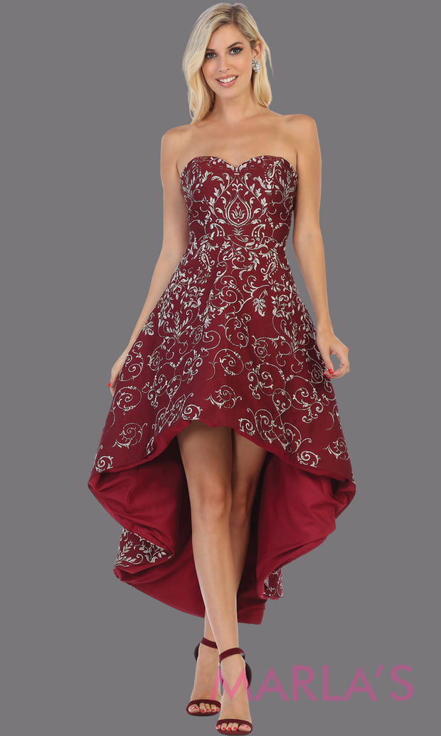 High low strapless burgundy semi formal party dress. This hi lo dress is perfect as a wedding guest dress, prom guest, grade 8 graduation, graduation, wedding guest dress, engagement shoot, plus size dresses, indowestern party dress.
