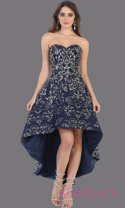 High low strapless navy blue semi formal party dress. This hi lo dress is perfect as a wedding guest dress, prom guest, grade 8 graduation, graduation, wedding guest dress, engagement shoot, plus size dresses, indowestern party dress.