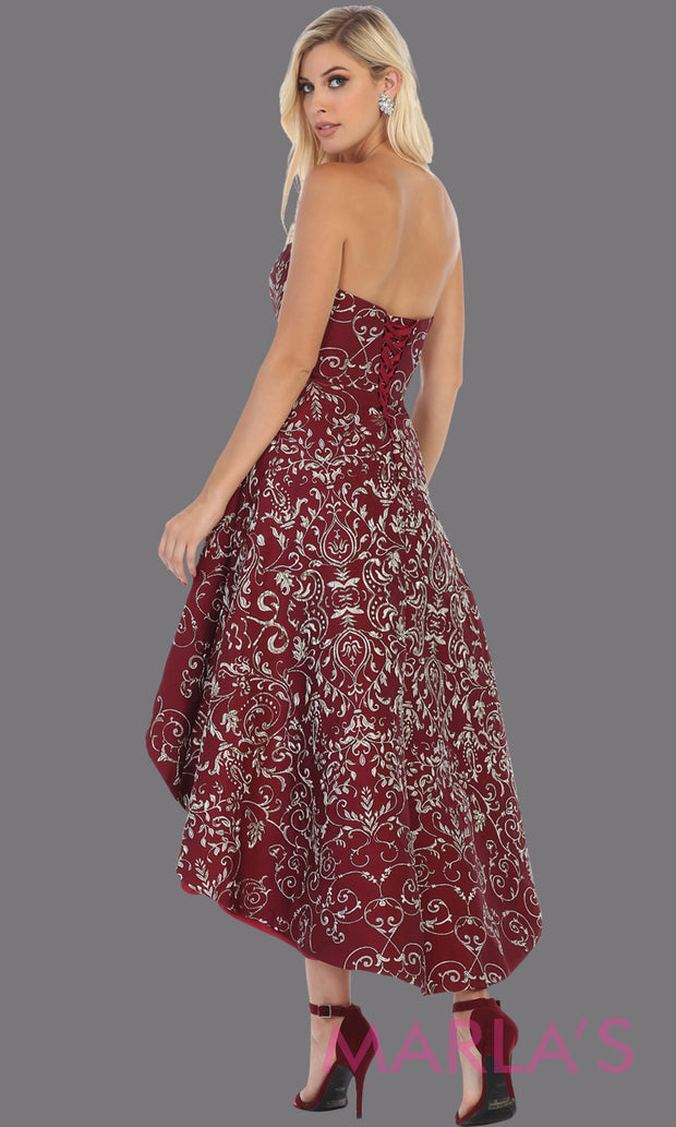 Back of High low strapless burgundy semi formal party dress. This hi lo dress is perfect as a wedding guest dress, prom guest, grade 8 graduation, graduation, wedding guest dress, engagement shoot, plus size dresses, indowestern party dress.