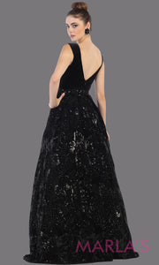 Back of Long black velvet gown from MayQueen RQ7674. This black full length formal dress is perfect for wedding reception dress, engagement dress, prom dress, sweet 16 dress, plus size dress, mother of the bride, indowestern black gown.