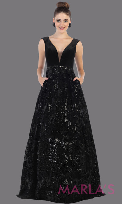 Long black velvet gown from MayQueen RQ7674. This black full length formal dress is perfect for wedding reception dress, engagement dress, prom dress, sweet 16 dress, plus size dress, mother of the bride, indowestern black gown.