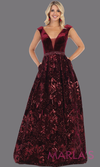 Long burgundy red velvet gown from MayQueen RQ7674. This dark red full length formal dress is perfect for wedding reception dress, engagement dress, prom dress, sweet 16 dress, plus size dress, mother of the bride, indowestern maroon gown.