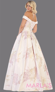 Back of Long taffeta floral off shoulder blush gown from MayQueen RQ7675. This gown is perfect for engagement dress, wedding reception dress, e-shoot, prom, formal evening party gown, indowestern gown, plus size evening gowns, summer wedding
