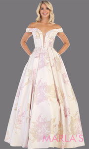 Long taffeta floral off shoulder blush gown from MayQueen RQ7675. This gown is perfect for engagement dress, wedding reception dress, e-shoot, prom, formal evening party gown, indowestern gown, plus size evening gowns, summer wedding