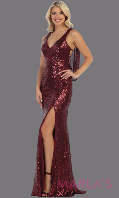 Long burgundy red sequin beaded evening dress from Mayqueen RQ7676. This dark red sequin open back with high slit is perfect for wedding reception dress, engagement dress, e shoot, prom dress, sexy sequin holiday party dress, evening gown