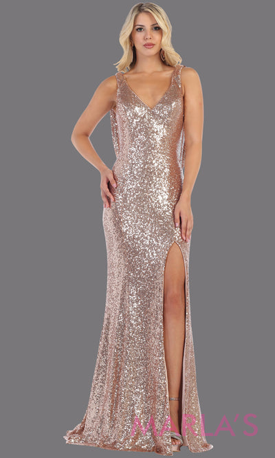 Long taupe sequin beaded evening dress from Mayqueen RQ7676. This rose gold sequin open back with high slit is perfect for wedding reception dress, engagement dress, e shoot dress, prom dress, sexy sequin holiday party dress, evening gown