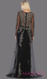 Back of Long sleeve long black flowy modest dress from MayQueen RQ7678. This long black evening gown is perfect for mother of the bride dress, indowestern gown, modest prom dress, plus size evening dresses, black formal party gowns, lace dresses