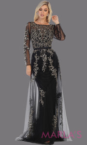 Long sleeve long black flowy modest dress from MayQueen RQ7678. This long black evening gown is perfect for mother of the bride dress, indowestern gown, modest prom dress, plus size evening dresses, black formal party gowns, lace dresses