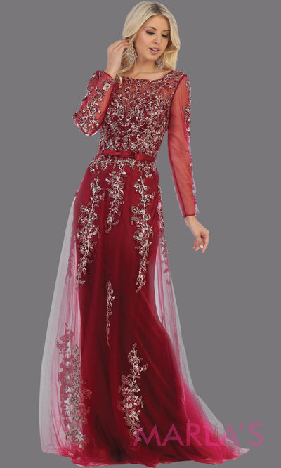 Long sleeve long burgundy flowy modest dress from MayQueen RQ7678.This long dark red evening gown is perfect for mother of the bride dress, indowestern gown,modest prom dress, plus size evening dresses, black formal party gowns, lace dresses